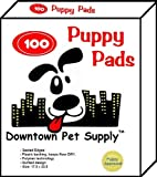 100 Count - Super-Absorbent Polymer PUPPY PADS - Dog Wee Wee Housebreaking Disposable Training Pads, Downtown Pet Supply Brand