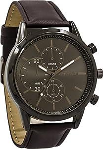 Daniel David Men| GunmetalBrown Leather Watch|DD14002