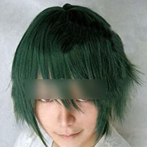 HuaYang Hommes Fashion perruque anime cosplay cheveux court cheveux style explosé(vert)