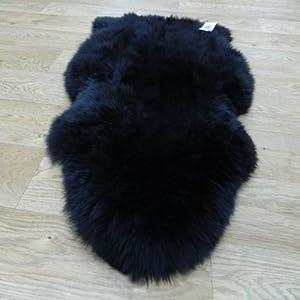 Genuine Lined Sheepskin Rugs In Black Single Shape 65x100cm RRP £45.00 | Only A Few Left