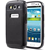 Galaxy S3 Case,ULAK S3 Case Hybrid Best Impact Dual Layered Style Case Cover for Samsung Galaxy S3 I9300 (Black Rubber/Black PC)