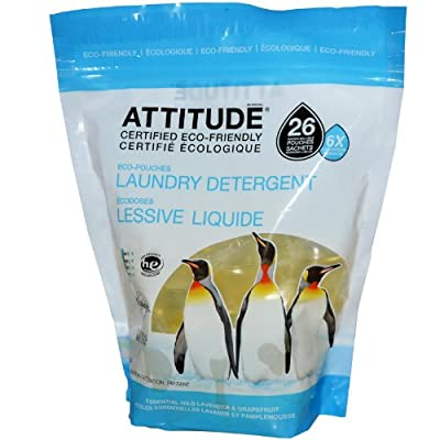 ATTITUDE, Eco-Pouches Concentrated Laundry Detergent, Essential Oils Lavender & Grapefruit, 26 Pouches, 13.7 oz (390 g)