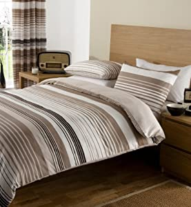 Brown Cream Print King Size Duvet Set With Matching Curtains Kitchen Home