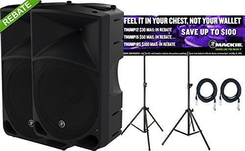 Pair of Mackie Thump15 1000W 15 Inch Powered Loudspeakers with Speaker Stands, 2 20 Foot XLR Cables, and Rebate Offer