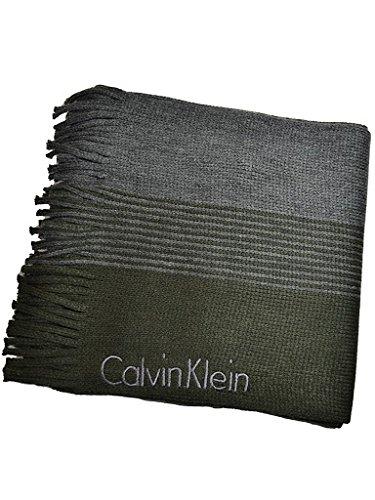 (カルバンクライン) CalvinKlein ラッセル カラーシフト フリンジ ニットマフラー [77092] 男女兼用 1.カーキ [並行輸入品]