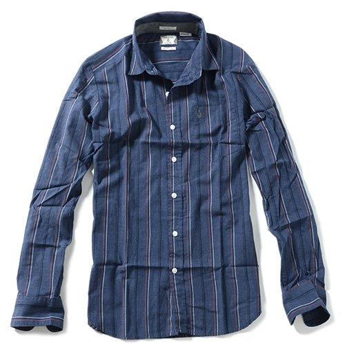 VOLCOM ボルコム ストライプシャツ WHY FACTOR STRIPE L/S 長袖シャツ 並行輸入品 並行輸入品 (XXL, 2.Navy)