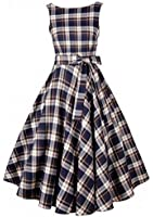 Ecollection Women Audrey Hepburn 50s Retro Tartan Check vintage Bubble Rockabilly Swing Evening Dress