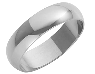 18ct White Gold Ladies 5mm Heavy D-Shape Wedding Ring