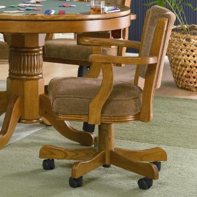 Game Chair solid Oak casters