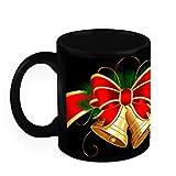 Christmas Gifts HomeSoGood Shining Christmas Bells Black Ceramic Coffee Mug - 325 Ml