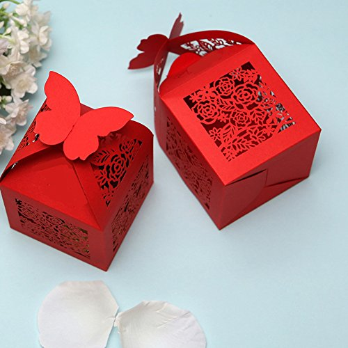 50pcs Rose Laser Cut Wedding Favors Candy Boxes Gifts Box Marriage Party Decors (Red)