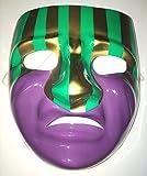 Tragedy Stripe PVC Mardi Gras Mask Halloween Costume Accessory Adult Plastic New