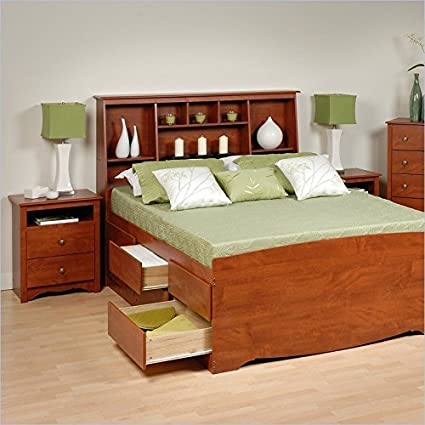 Prepac Monterey Cherry Tall Queen Wood Platform Storage Bed 3 Piece Bedroom Set