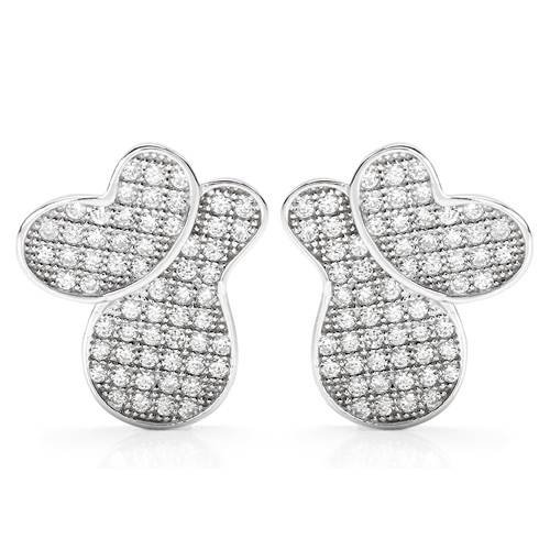 Sterling Silver 1.49 CTW Cubic Zirconia Ladies Earrings. Length 15 mm. Total Item weight 3.6 g.