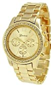 Geneva Platinum 9073 Womens Decorative Chronograph Rhinestone-accented