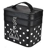 Nckoo 化粧品収納ボックス 収納箱 化粧ポーチ 二重収納 大容量 (ブラック(ドット))