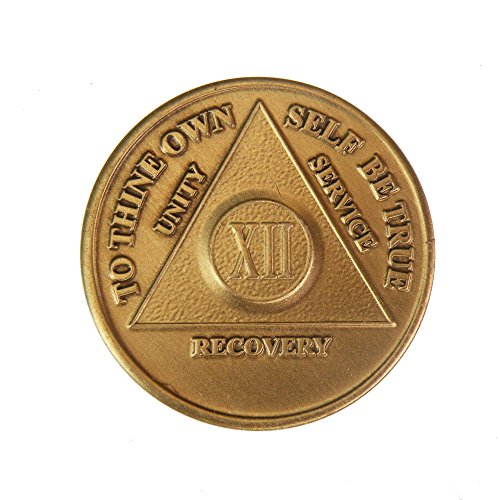 12 Year Bronze AA (Alcoholics Anonymous) - Sober / Sobriety / Birthday / Anniversary / Recovery / Medallion / Coin / Chip - 1