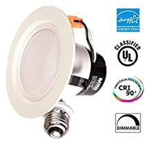 11Watt 4-inch ENERGY STAR UL-listed Dimmable LED Downlight Retrofit Recessed Lighting Fixture - 3000K Warm White LED Ceiling Light --650LM, CRI 91