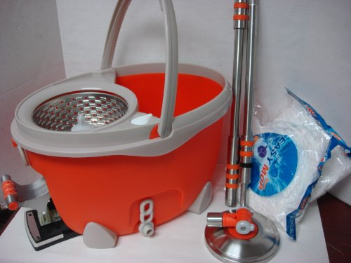 Stainless Steel 3 in one for wash, dry, press, Magic Spin Mop Bucket Dual Drying Version