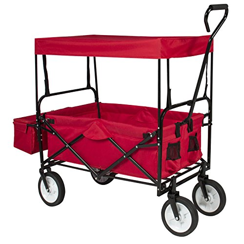 Folding Wagon W/ Canopy Garden Utility Travel Collapsible Cart Outdoor Yard Home (Ebay Shopping Cart compare prices)