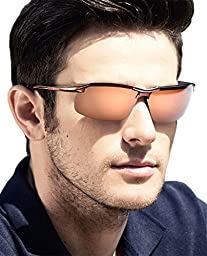 ATTCL® 2015 New Fashion Driving Polarized Sunglasses for Men Unbreakable-metal Frame (Coffee, 8177)