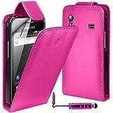 MobileAccessories4U Leather Flip Skin Case Cover, Film & Mini Stylus For Samsung Galaxy Ace S5830 - Hot Pink