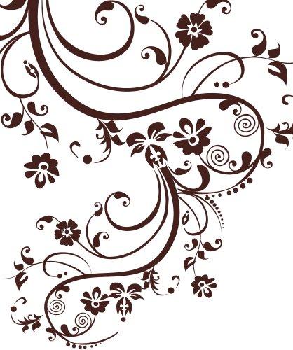 Stickerbrand© Floral Décor/Swirl Designs Vinyl Wall Art Swirl Flower Design Wall Decal Sticker - Brown, 100