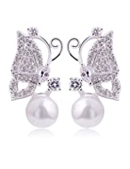 Silver Shoppee Breezy Rhodium Plated Cubic Zirconia And Pearl Studded Alloy Earrings