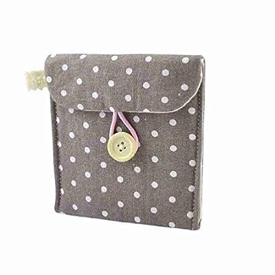 Gleader Girl Cotton Blends Polka Dots Sanitary Pad Holder Button Bag Case Gray White