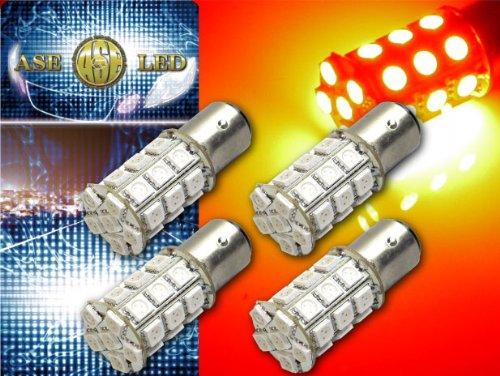 S25(BAY15d)/G18ダブル球LEDバルブ27連レッド4個 as144-4