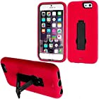 myLife American Rose Red + Vintage Black {Durable Kickstand Design} 2 Layer Hybrid Case for the NEW iPhone 6 (6G) 6th Generation Phone by Apple, 4.7 Screen Version (Single External Fitted Hard Protector Shell + Full Body Internal Silicone EASY-Grip Bumper Gel Protection)