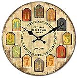 ELEEJE イギリス ロンドン パリ アンティーク な 壁掛け 木製 時計 (ロンドン)