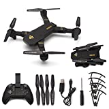 RC Quadcopter Helicopter Mini Drone Folding Fixed Height RC Dron Visuo XS809W SX809HW Mini Foldable Selfie Drone with Wifi FPV 0.3MP 2MP Camera Aerial (B:200W+Altitude Hold+Wide Angle)