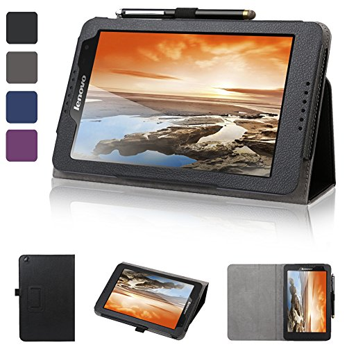 Evecase Slimbook Leather Folio Stand Case Cover For Lenovo Ideatab A8-50 8-Inch Tablet - Black