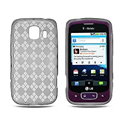"LG Optimus S/U/V (Sprint/US Cellular/Virgin Mobile) Semi-Transparent Smoke Argyle Checker Design TPU Gel Skin Cover Case + Bonus 5.5"" Baby Blue Screen Cleaning Cloth"