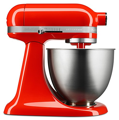 Best Buy! KitchenAid KSM3311XHT Artisan Mini Series Tilt-Head Stand Mixer, 3.5 quart, Hot Sauce