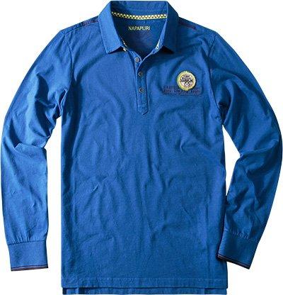 Napapijri-Polo in cotone con stampa logo - blu cobalto-Male-4794634