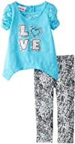 Little Lass Baby-Girls Infant 2 Piece Love Legging Set, Aqua, 12 Months