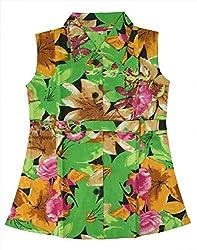 RANGREJA Tropical Dress for Girls Green-brown