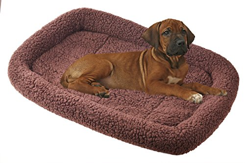 BINGPET Padded Dog Bed Pet Kennel Pad Cat Crate Cushion , Brown Extra Large 43