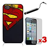 CreativeCase's Black Hard Back Case with Screen Protectors and Capacitive Stylus for Apple iPhone 4 / 4S