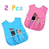 Mudder 2 Pieces Childrens Art Smock Artist Smock Waterproof Painting Apron Blue and Pink