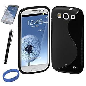 Dealgadget® Schutzhülle / Case für SAMSUNG GALAXY S3 / S 3 / S III / i9300 in der S Line aus SILIKON & TPU in SCHWARZ / BLACK +2 X Samsung Galaxy S3 / i9300 / S 3 S III i9300 Displayschutzfolie Front Protector, Display Schutzfolie UltraClear + 1 X Stylus Eingabestift für Touchscreens und Tablet-PCs, schwarz +1X Wristband