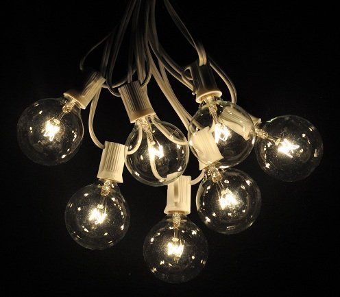 25 Foot Globe Patio String Lights - Set of 25 G50 Clear Bulbs with White Cord