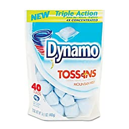 Dynamo Toss Ins Powder Laundry Detergent, Packets, 4 per Carton - 40 packets of laundry detergent.
