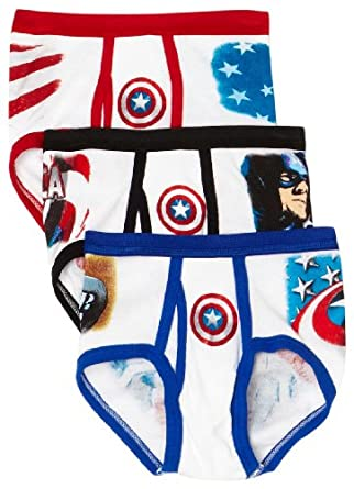 Fruit Of The Loom Boys 2-7 3 Pack Captain America Briefs, Assorted, 6