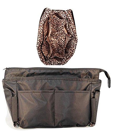 Livia B Premium Quality Portable Purse Organizer with Zipper Closure, Black/Leopard (In Purse Organizer compare prices)