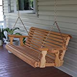 Amish Heavy Duty 700 Lb Roll Back 5ft. Treated Porch Swing...