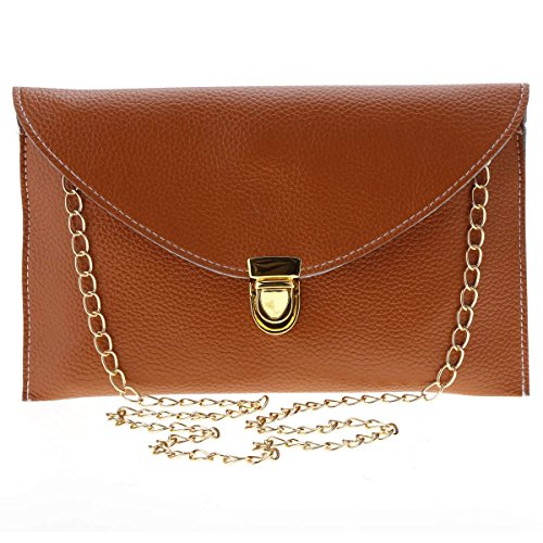 MEXI Women's Chain Envelope Purse Clutch Synthetic Leather Handbag