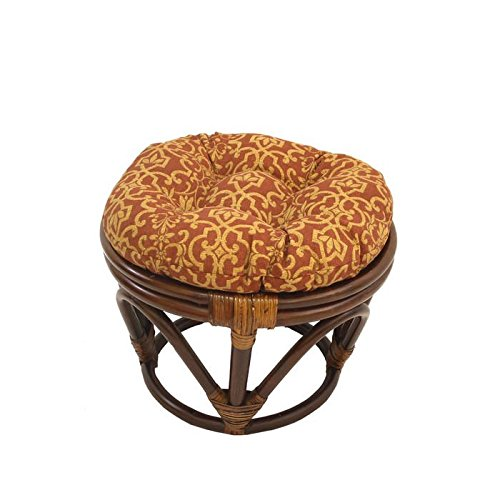 Rattan Papasan Footstool with Polyester Cushion
